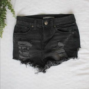 Distressed Black Denim High Wasted Express Shorts